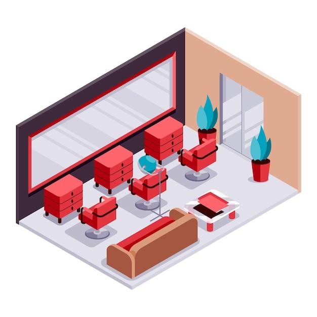 Salone di bellezza isometrico creativo illustrato Vettore gratuito