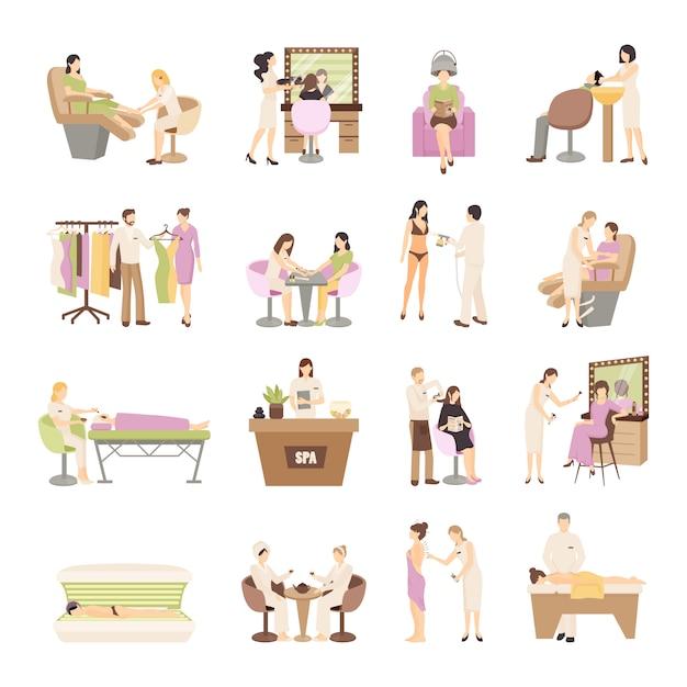 Salone di bellezza spa set persone Vettore gratuito