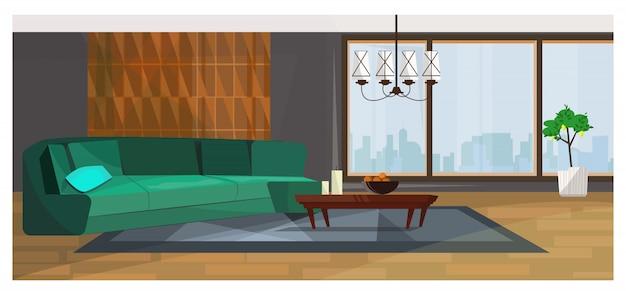 Salone lussuoso con illustrazione di finestra panoramica Vettore gratuito