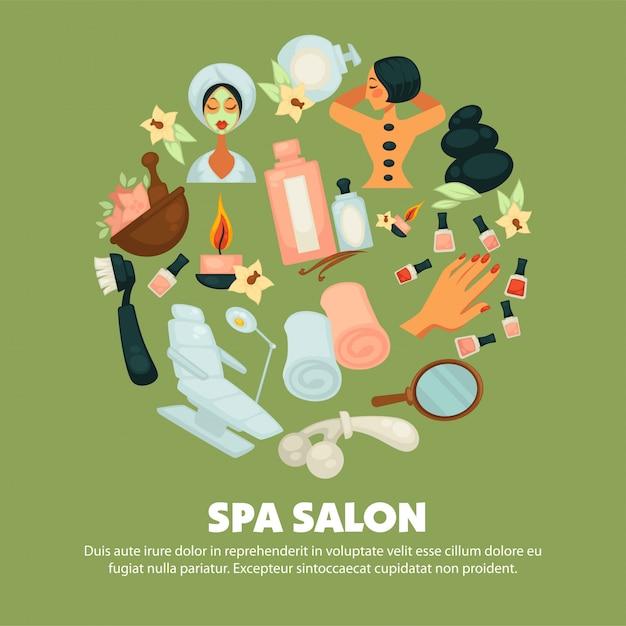 Salone spa con poster di servizi di cura della pelle Vettore Premium