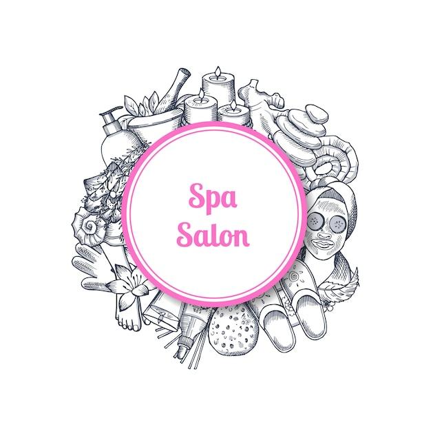 Salone spa disegnato a mano con elementi in cornice Vettore Premium