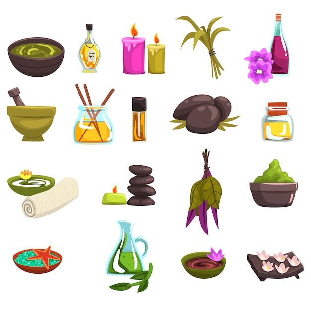 Salone spa e set di elementi per la cura del corpo. olio ed erbe, candele, sale marino, pietre calde, asciugamano, fiori. icone di benessere procedure di bellezza. raccolta su bianco. Vettore Premium