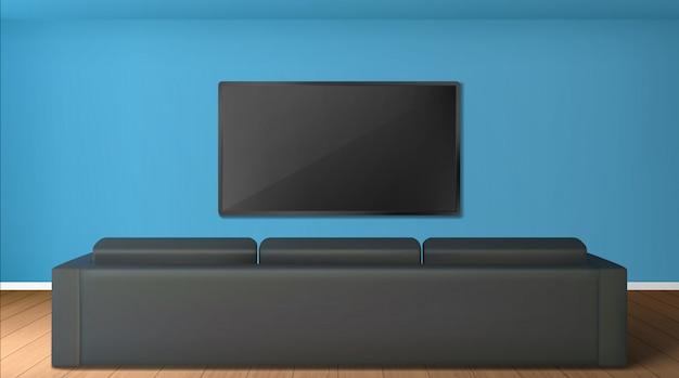 Salone vuoto con lo schermo della tv sulla parete e la vista posteriore al sofà nero Vettore gratuito