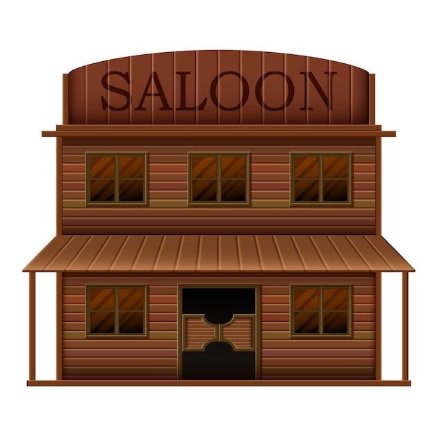Saloon di costruzione in stili occidentali Vettore Premium