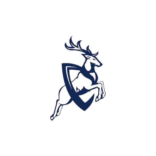 Salta l'illustrazione del logo di cervo Vettore Premium