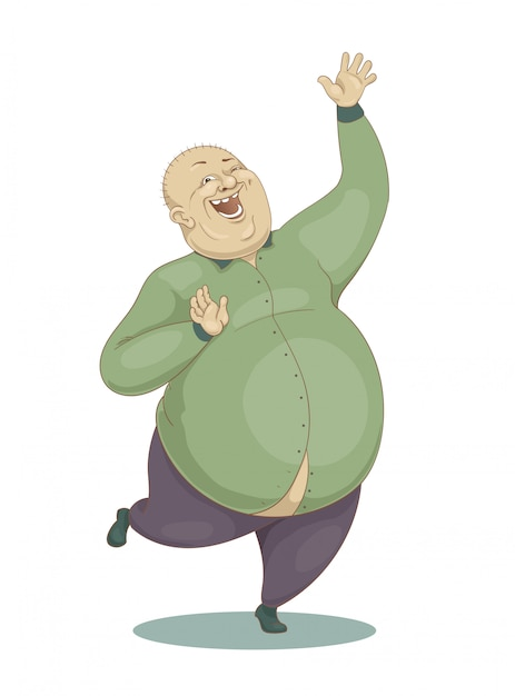 Saltando ridendo grande uomo calvo in una camicia verde