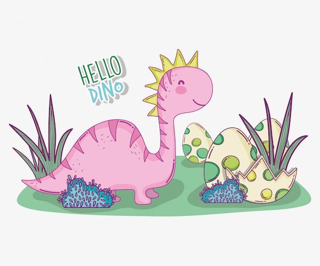 Saltasaurus sveglio con l'uovo di dino nei cespugli Vettore Premium