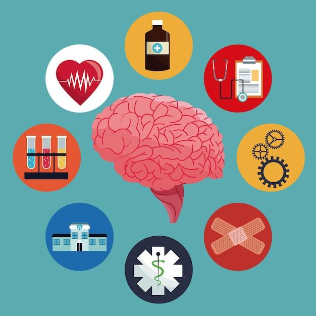 Salute della medicina del cervello umano Vettore Premium