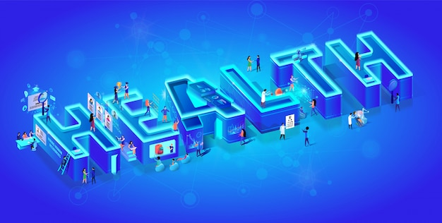 Salute isometrica creativa di parola del neon 3d. Vettore Premium