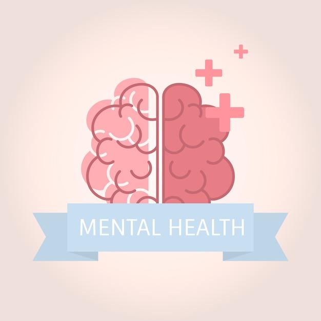 Salute mentale che comprende il vettore del cervello Vettore gratuito