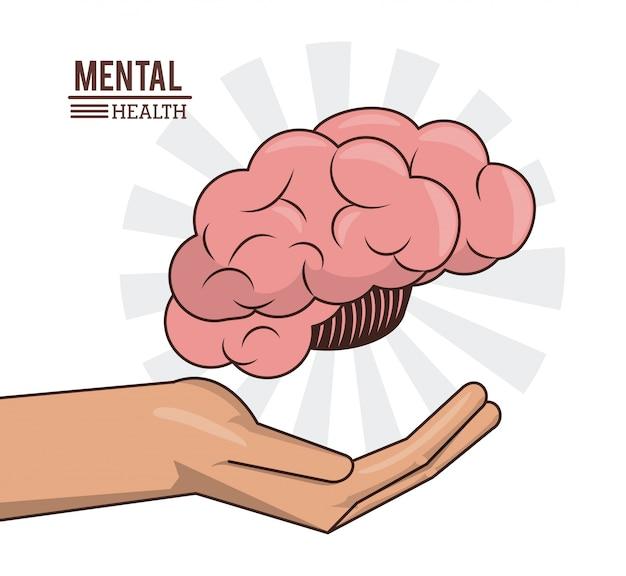 Salute mentale, mano con cervello umano prevenzione medica Vettore Premium