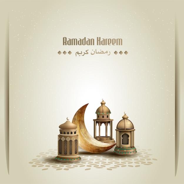 Saluti islamici ramadan kareem card design con lanterne dorate e falce di luna Vettore Premium