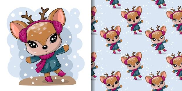 Saluto christmas card cervi disegnati carino con set di pattern senza soluzione di continuità Vettore Premium