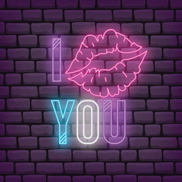 Saluto del biglietto di s. valentino nell'illustrazione di vettore di stile di effetto al neon Vettore Premium