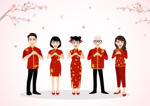 Saluto del personaggio dei cartoni animati del popolo cinese nel festival cinese del nuovo anno sugli alberi del fiore della prugna con la stagione primaverile Vettore Premium