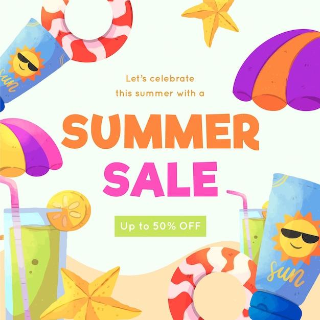 Saluto dell'acquerello estate vendita con spiaggia Vettore gratuito