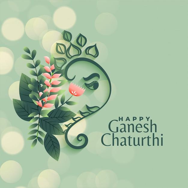 Saluto di festival di chaturthi di ganesh nel fondo di stile del fiore Vettore gratuito
