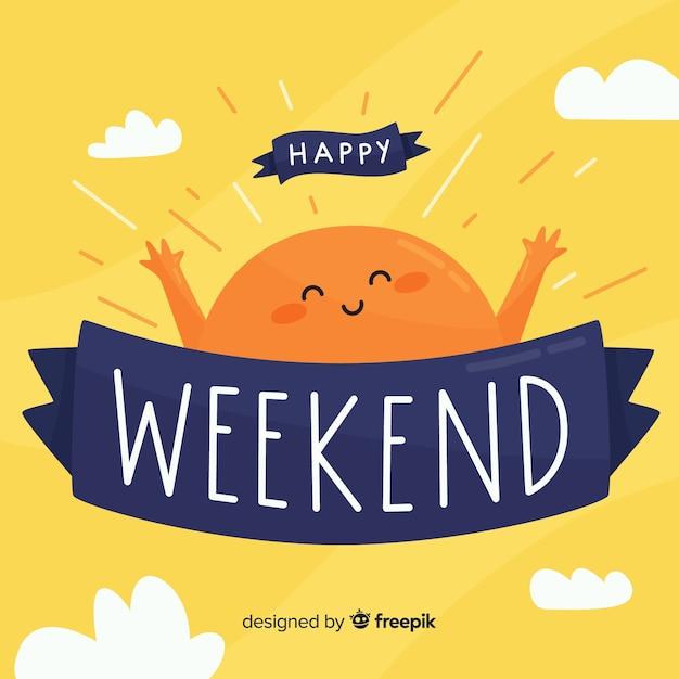 Saluto di fine settimana felice del sole Vettore gratuito