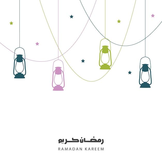 Saluto di ramadan kareem, sfondo con lanterne Vettore Premium