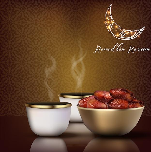 Saluto di ramadhan kareem. celebrazione iftar Vettore Premium