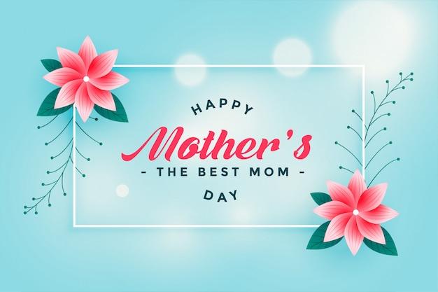 Saluto felice adorabile del fiore di festa della mamma Vettore gratuito
