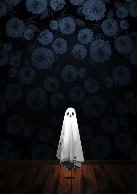 Saluto felice di halloween con il fantasma che galleggia nell'aria sul fondo del fiore Vettore Premium