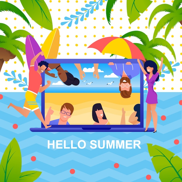 Saluto metafora estiva e turisti felici Vettore Premium