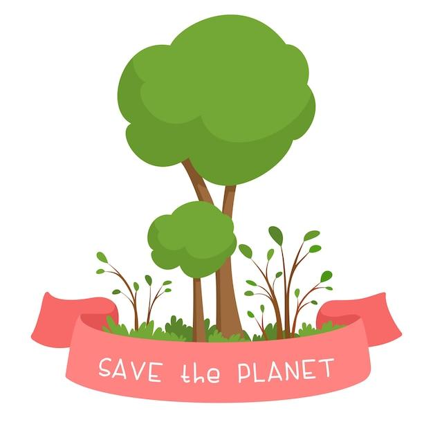 Salva il pianeta. alberi verdi e nastro rosa con testo. concetto di protezione ambientale. piantare alberi illustrazione del fumetto su una priorità bassa bianca. Vettore gratuito