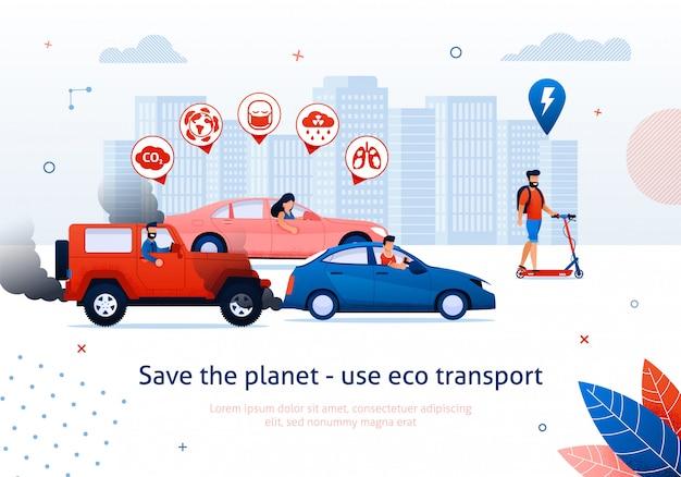 Salva il pianeta usa il trasporto ecologico. man ride scooter elettrico. la gente guida l'illustrazione di vettore dell'automobile del motore a benzina. Vettore Premium
