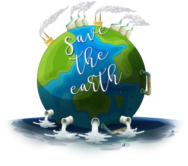 Salva il poster della terra Vettore gratuito