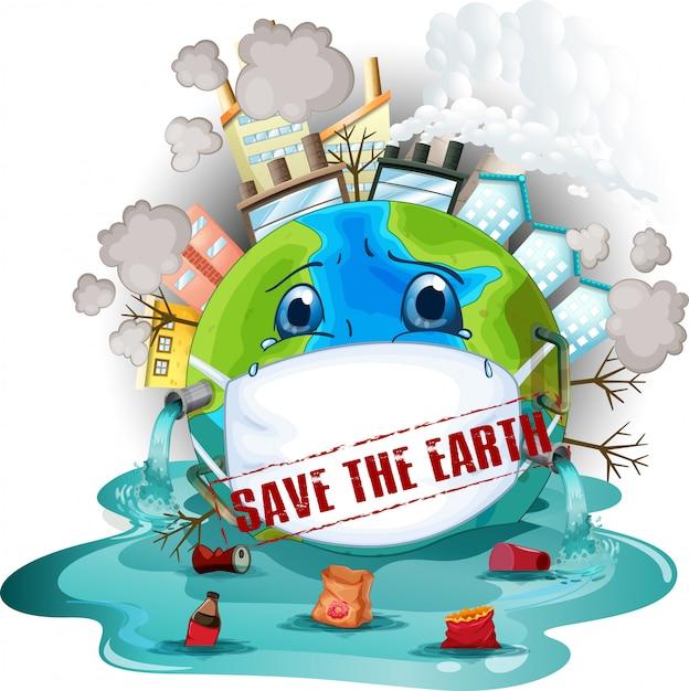 Salva l'icona della terra Vettore gratuito