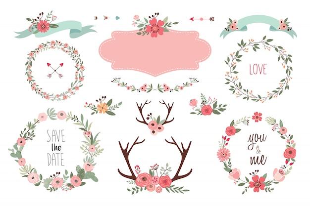 Salva la collezione di elementi data con oggetti di matrimonio, ghirlande floreali, mazzi di fiori e palchi Vettore Premium