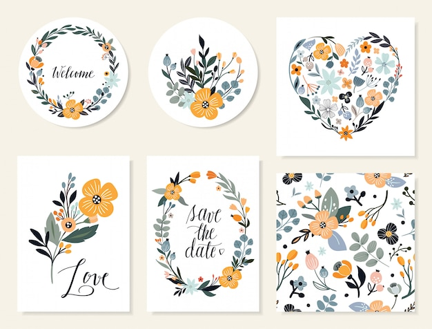 Salva la data biglietti floreali e collezione di inviti Vettore Premium
