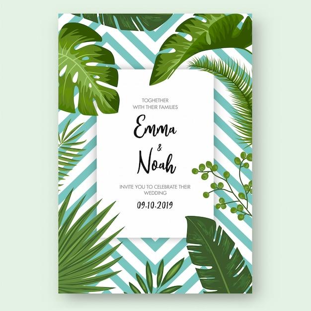 Salva la data card con foglie esotiche tropicali Vettore Premium