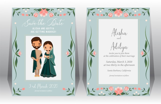 Salva la data, carta di matrimonio indiano con carina sposa e lo sposo in abito tradizionale sul modello di carta di invito di nozze Vettore Premium