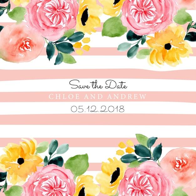 Salva la data con l'acquerello floreale e lo sfondo della linea Vettore Premium
