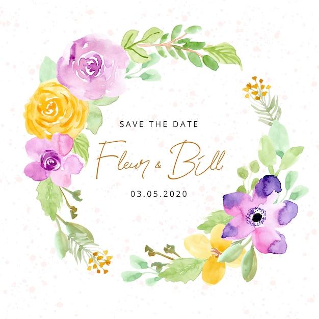 Salva la data con la corona di fiori ad acquerelli Vettore Premium