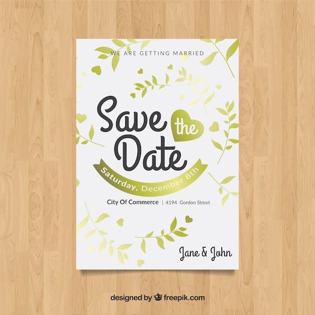 Salva la data con le piante dorate Vettore gratuito