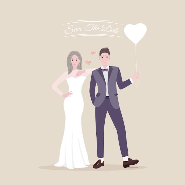 Salva la data dei giovani sposi felici sposi Vettore Premium