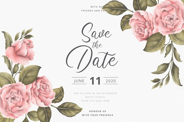 Salva la data dell'invito con peonie vintage Vettore gratuito