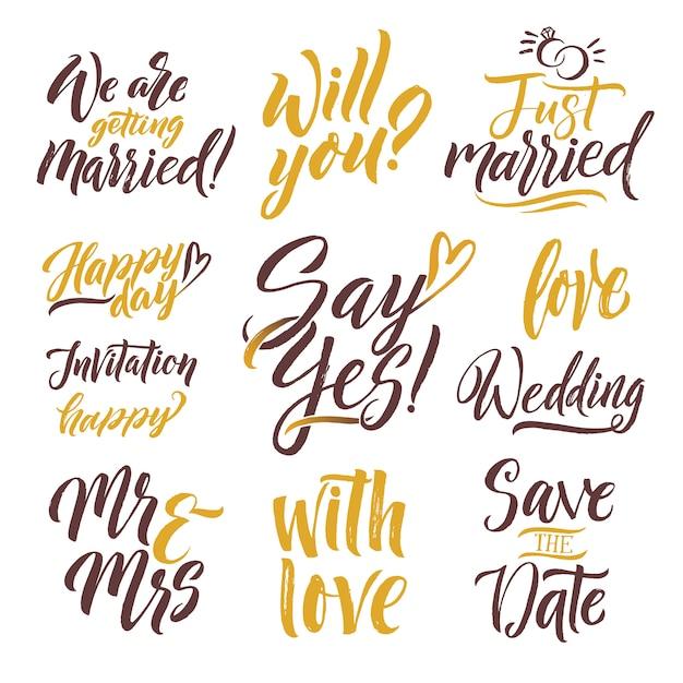 Salva la data lettere disegnate a mano lettering set con diverse parole di invito Vettore Premium