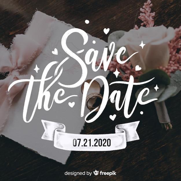 Salva la data scritta sull'immagine del matrimonio Vettore gratuito