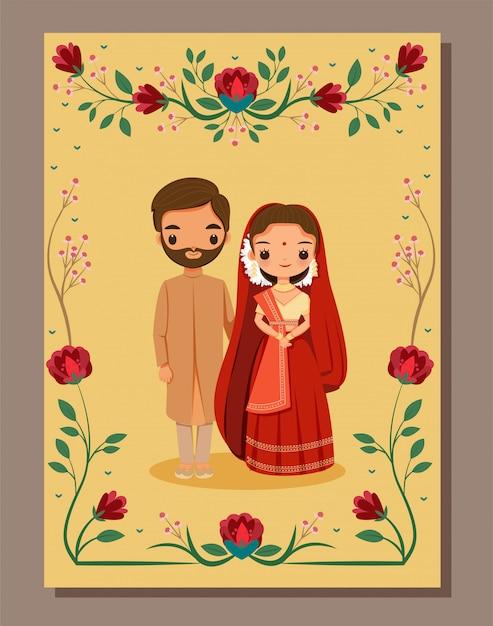 Salva la data, sposa e sposo indiani svegli in vestito tradizionale sul modello della carta dell'invito di nozze del fiore Vettore Premium