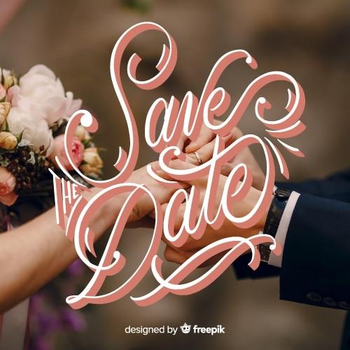 Salva le lettere della data sullo sfondo della foto Vettore gratuito