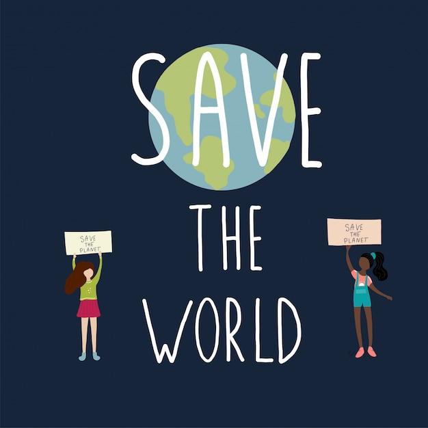 Salva le ragazze del mondo che dicono e terra Vettore Premium