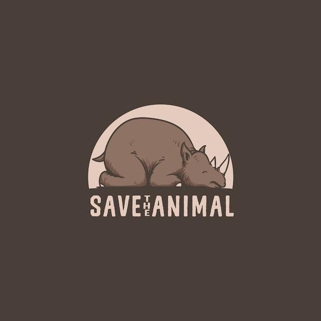 Salva rhino animal logo illustration Vettore Premium