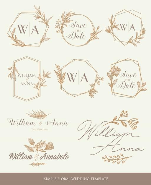 Salvare gli elementi decorativi del modello di matrimonio data Vettore Premium