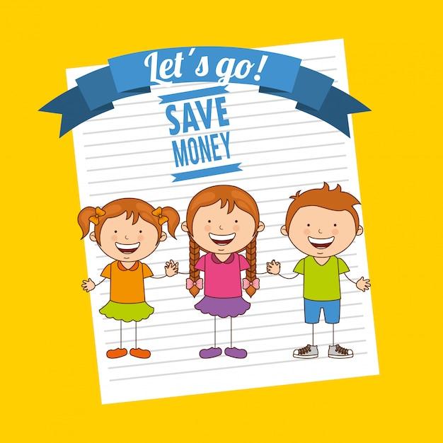 Salvare i bambini Vettore Premium