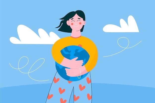 Salvare il concetto di pianeta con donna che abbraccia il globo Vettore gratuito
