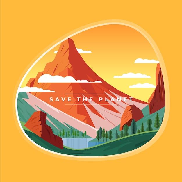 Salvare il concetto di pianeta con montagne e natura Vettore gratuito